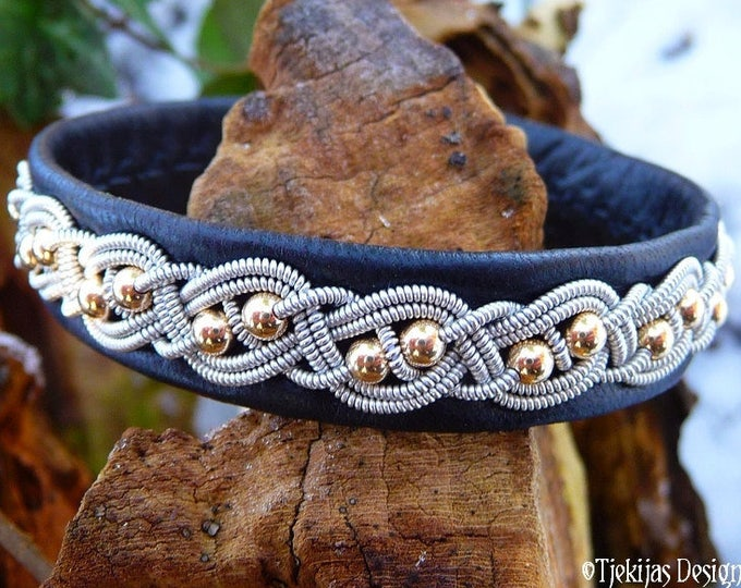 Sami bracelet, BIFROST viking black leather cuff with 14k gold beads, pewter braid and antler closure