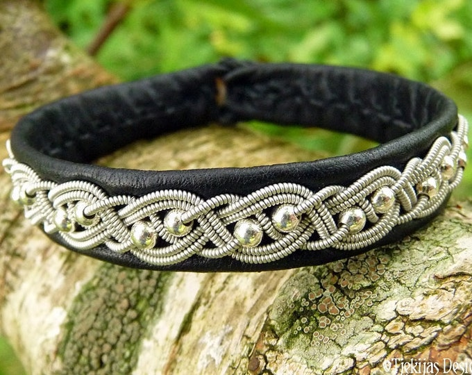 Swedish Sami bracelet, BIFROST black reindeer leather, pewter braid with sterling silver beads and antler button