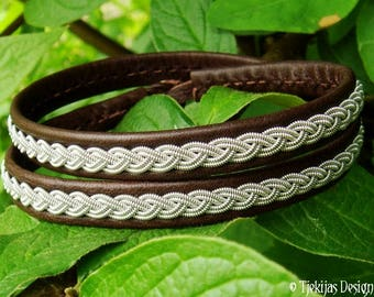 Double wrap Sami bracelet, LIDSKJALV handmade brown leather viking cuff, decorated with pewter braid