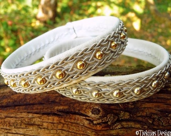 Sami Viking bracelet cuff, YDUN handmade Norse jewelry in white leather with 14k gold filled beads in pewter braids