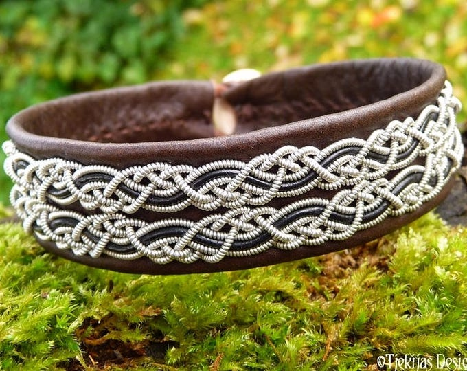 Viking braided Sami bracelet cuff, MUNINN in brown leather decorated with pewter