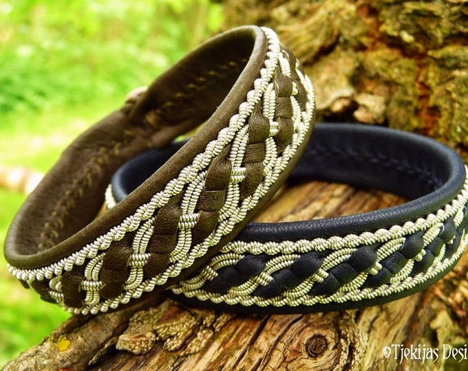 FAFNIR Norse bracelet,  Sami Lapland viking cuff in olive reindeer leather, with pewter braids