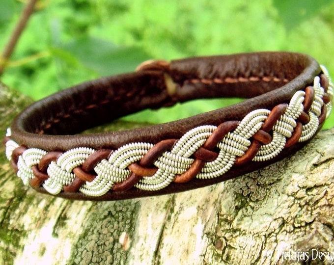 Viking leather bracelet VALHAL, brown reindeer Sami bracelet, tennarmband handmade to your wishes