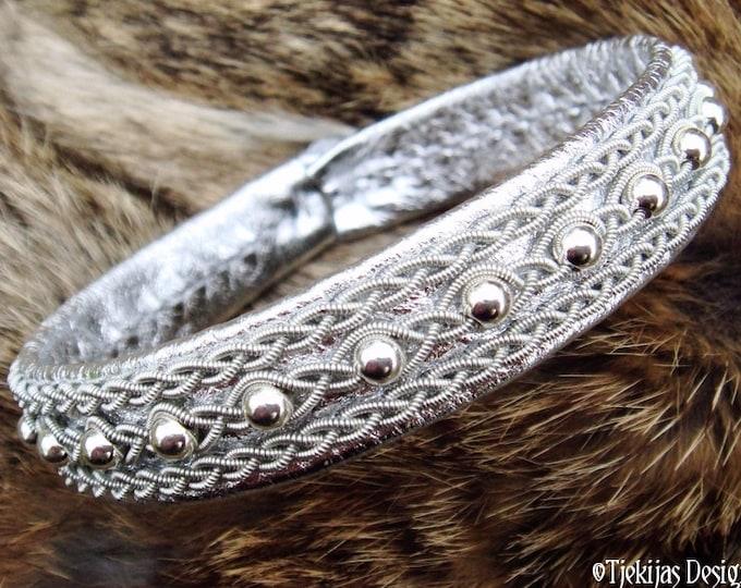 Handmade Viking Leather Bracelet YDUN Swedish Sami Jewelry Cuff with Sterling Silver beads in Pewter braids