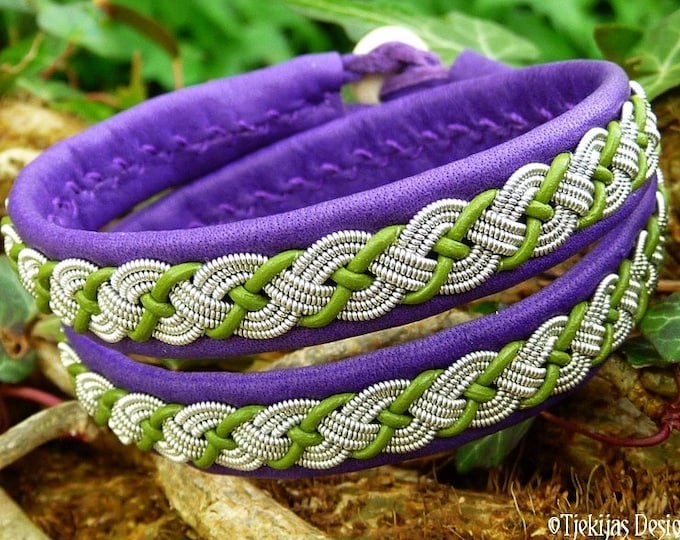 Double wrap Leather Sami bracelet, VALHAL viking wrap cuff in purple and lime leather, with tin thread braid