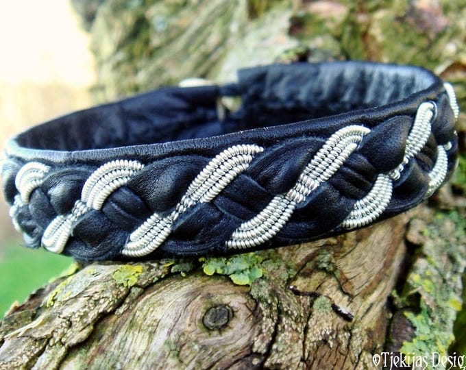 Black leather and pewter bracelet cuff for real vikings, FENRIS WOLF handmade Sami folklore jewelry in your size and color