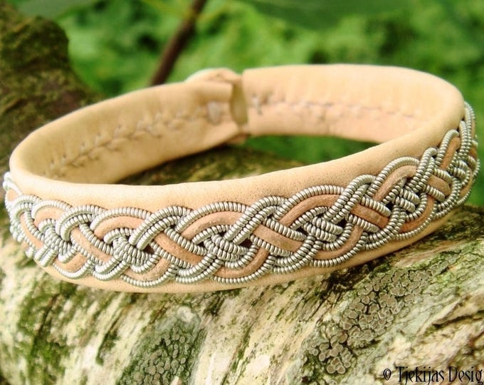 NIFLHEIM Nordic natural Lapland leather Sami bracelet cuff for vikings and shieldmaidens, handcrafted in Denmark