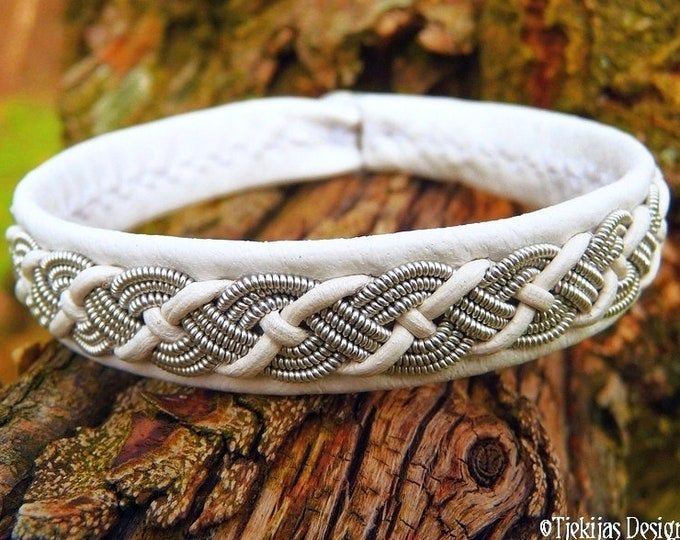 White Leather Sami Bracelet Cuff VALHAL Viking Jewelry decorated with braided Lapland Pewter