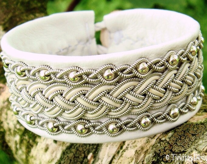 White leather viking Sami bracelet, GERI wedding cuff, with sterling silver beads in pewter braids, handmade Nordic folklore jewelry