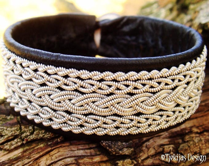 Sami bracelet, viking leather cuff, Saami armband, SKADI black reindeer skin with tin thread braid, custom handmade