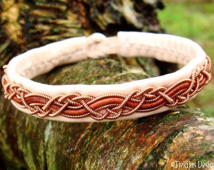 Shieldmaidens and vikings leather copper bracelet, HUGINN handmade cuff in traditional Sami style in natural and rosewood