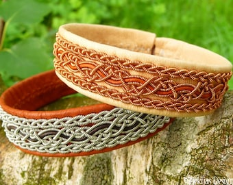 Swedish Viking Bracelet Cuff NIDHOGG Sami Bracelet in Natural Leather with Copper Braids and Rosewood Leather Cord