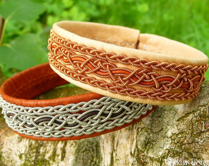 Swedish viking cuff NIDHOGG, Sami bracelet in natural leather with copper and rosewood cord braids