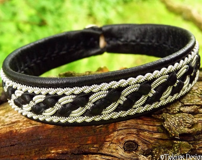 Sami viking bracelet, FAFNIR women and men's black leather cuff with pewter braid and antler closure