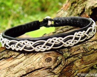 Sami viking bracelet, HUGINN handmade nordic pagan black leather wristband, with pewter braid and antler closure