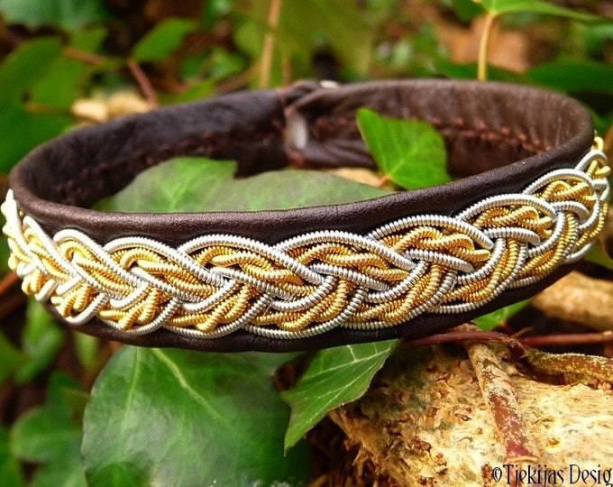 Sami bracelet, viking leather cuff, VIMUR two tone wristband, handmade with 14k gold and pewter braid on reindeer or lambskin