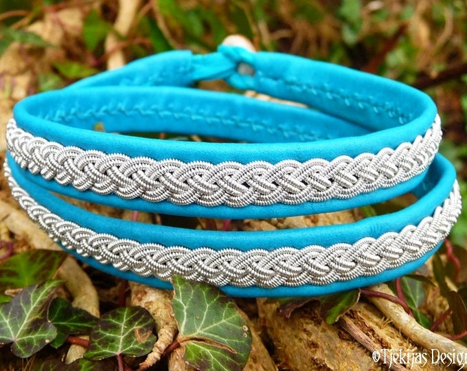 Viking leather wrap bracelet ASGARD, handmade in turquoise reindeer with pewter braid and antler closure
