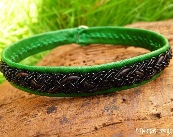 Viking pagan Sami bracelet, JORMUNGANDR Leather cuff bracelet with black braid, brown cord on emerald green lambskin