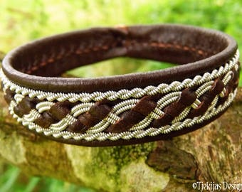 FAFNIR viking bracelet cuff, Sami jewelry handmade in brown leather decorated with pewter braid