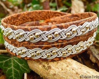 Viking wrap Sami bracelet, BIFROST double leather cuff, in unique brown lambskin with pewter and 14k gold braid