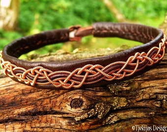 Celtic leather and copper Sami viking bracelet cuff, HUGINN custom handmade for Norsemen and Shieldmaidens