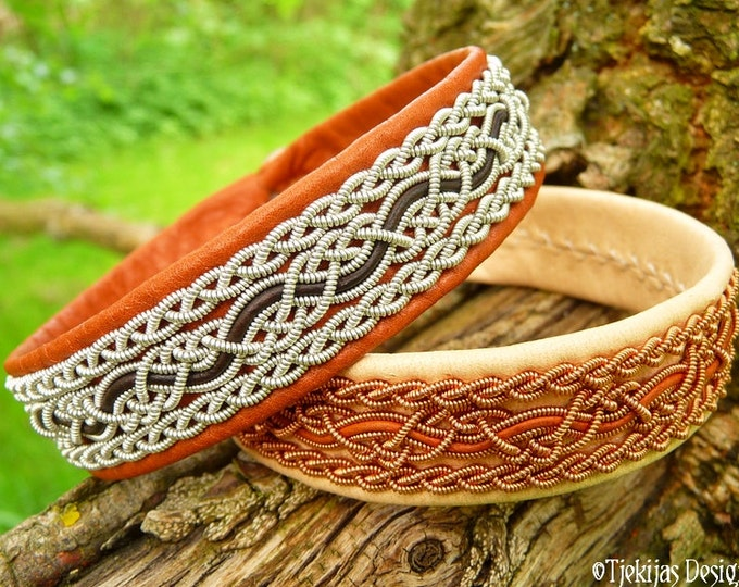 NIDHOGG Swedish viking cuff bracelet, cognac brown leather Sami bracelet with pewter braids