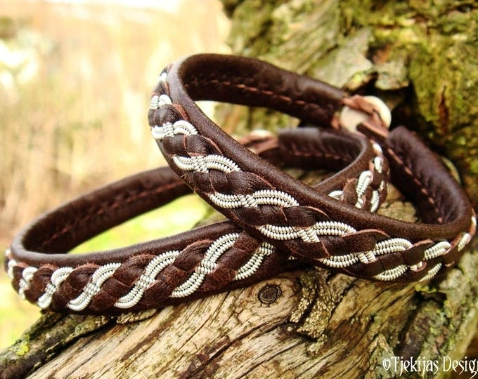 Saami viking bracelet, FENRIR handmade pewter and brown leather cuff with antler closure