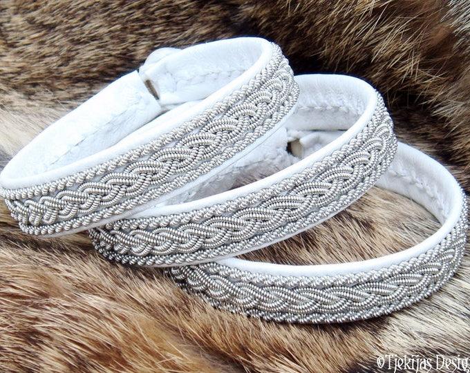 Swedish Lapland Sami Bracelet MJOLNIR Viking Cuff in White Leather decorated with Pewter Braids