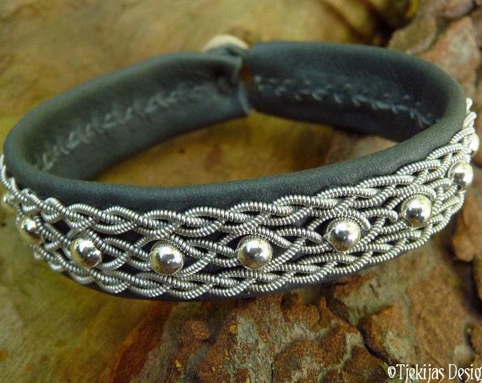 Leather viking cuff, YDUN Sami bracelet, custom handmade in gray deerskin, with sterling silver beads in pewter braids