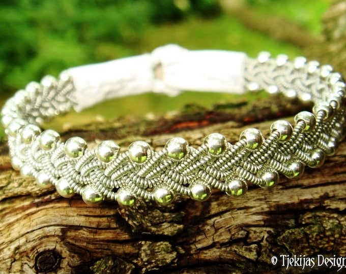 Swedish viking bracelet RIMFAXE, Sami bracelet with sterling silver beads, pewter braid and white leather