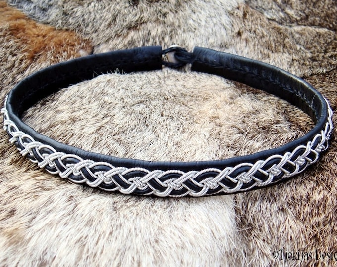 NIFLHEIM Sami necklace, black leather collar, viking choker with pewter braid