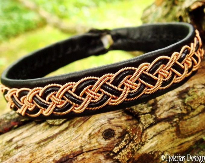 Sami viking bracelet, NIFLHEIM for men and women in black leather decorated with copper braid