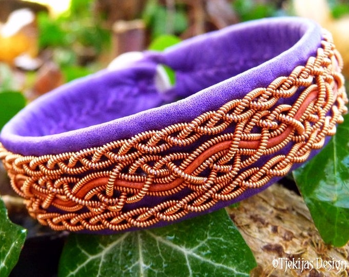 Norsemen and shieldmaidens copper and leather bracelet, in purple and rosewood, NIDHOGG Norse handcrafted jewelry