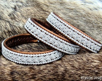 Viking Bronze Leather Bracelet Cuff MJOLNIR Handmade Nordic Sami Wristband for Men and Women