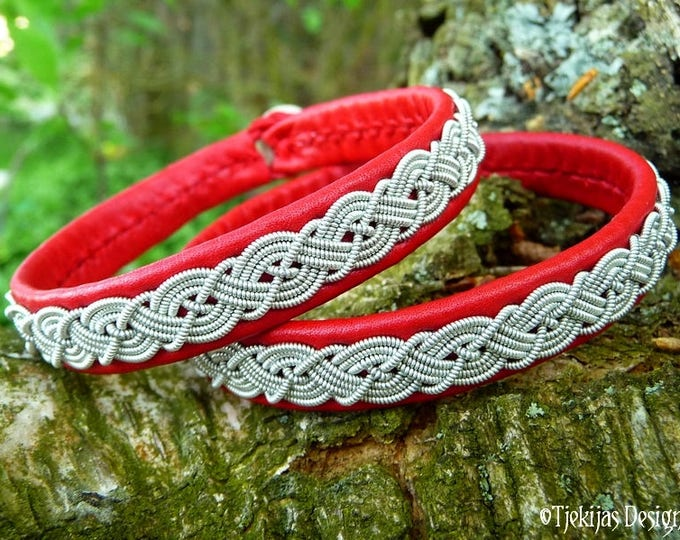 Sami bracelet, MIDGARD red leather viking wristband cuff, decorated with pewter braid, handmade Norse folklore