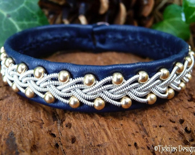 Sami Viking Bracelet Cuff SKINFAXE 14K Gold filled beads in Pewter braid on Reindeer leather or Lambskin