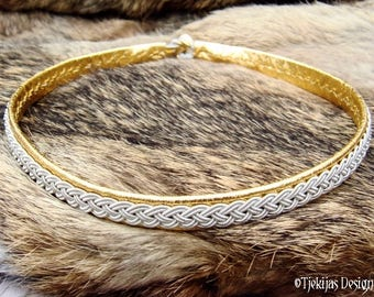 Gold leather and tin braid viking necklace choker collar ASGARD, custom handmade traditional Swedish Sami jewelry