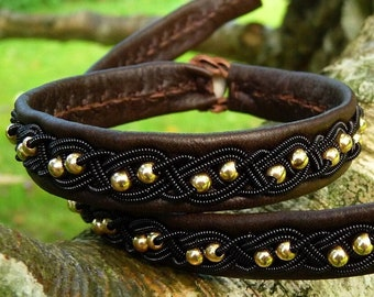 Scandinavian Sami leather bracelet BIFROST womens cuff, with 14k gold beads in black copper braid
