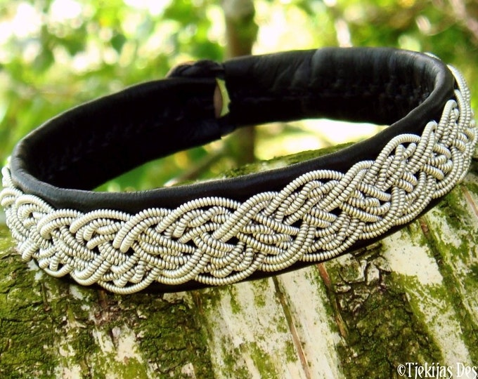 Sami viking leather cuff bracelet YGGDRASIL, handmade Nordic folk art