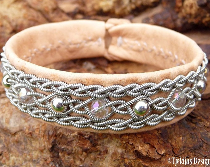 Viking bracelet leather cuff YDUN, Sami tennarmband with sterling silver and crystals
