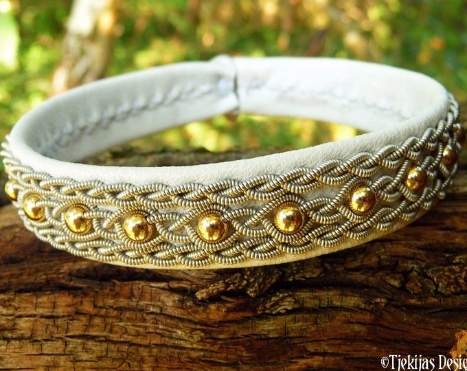 Norse Sami bracelet YDUN, handmade leather cuff, with 14k gold