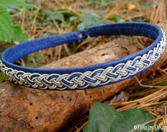 Viking necklace for shieldmaidens, NIFLHEIM Sami blue leather choker collar with pewter braid, custom handmade to your wishes
