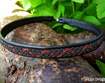 Nordic Swedish viking necklace, Sami craft leather choker JORMUNGANDR