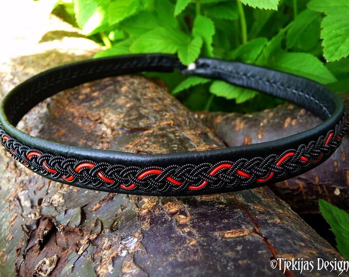 Nordic Swedish viking necklace, Sami craft leather choker JORMUNGANDR