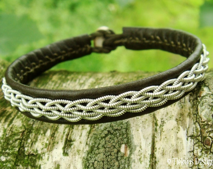 Norse viking Sami bracelet, DAIN handmade unisex leather wristband in olive army green with pewter braid and antler closure