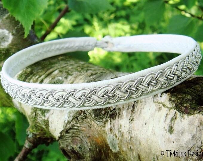 Scandinavian viking necklace NIFLHEIM, white leather collar, Sami choker with pewter braid and antler closure, custom handmade for you