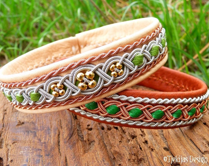 Pair of viking Sami bracelets, FREY and FREYA celtic leather cuffs, handmade with copper, pewter and gold beads