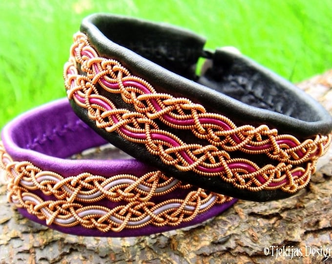 Viking Sami bracelet, MUNINN copper and leather cuff, custom handmade in your size and in 30 different colors