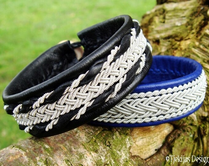 Viking bracelet cuff in Swedish Sami style, SEIDR in black reindeer leather and pewter braids, Danish handmade design