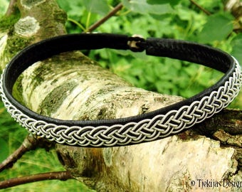 Shieldmaiden black leather viking necklace, collar decorated with pewter braid, FREKI Sami choker, custom handmade